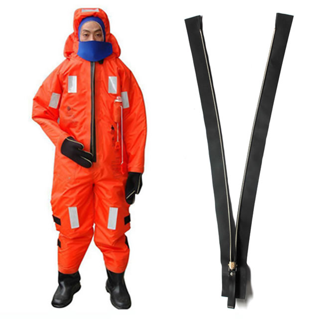 Metal airtight zippers for immersional suits