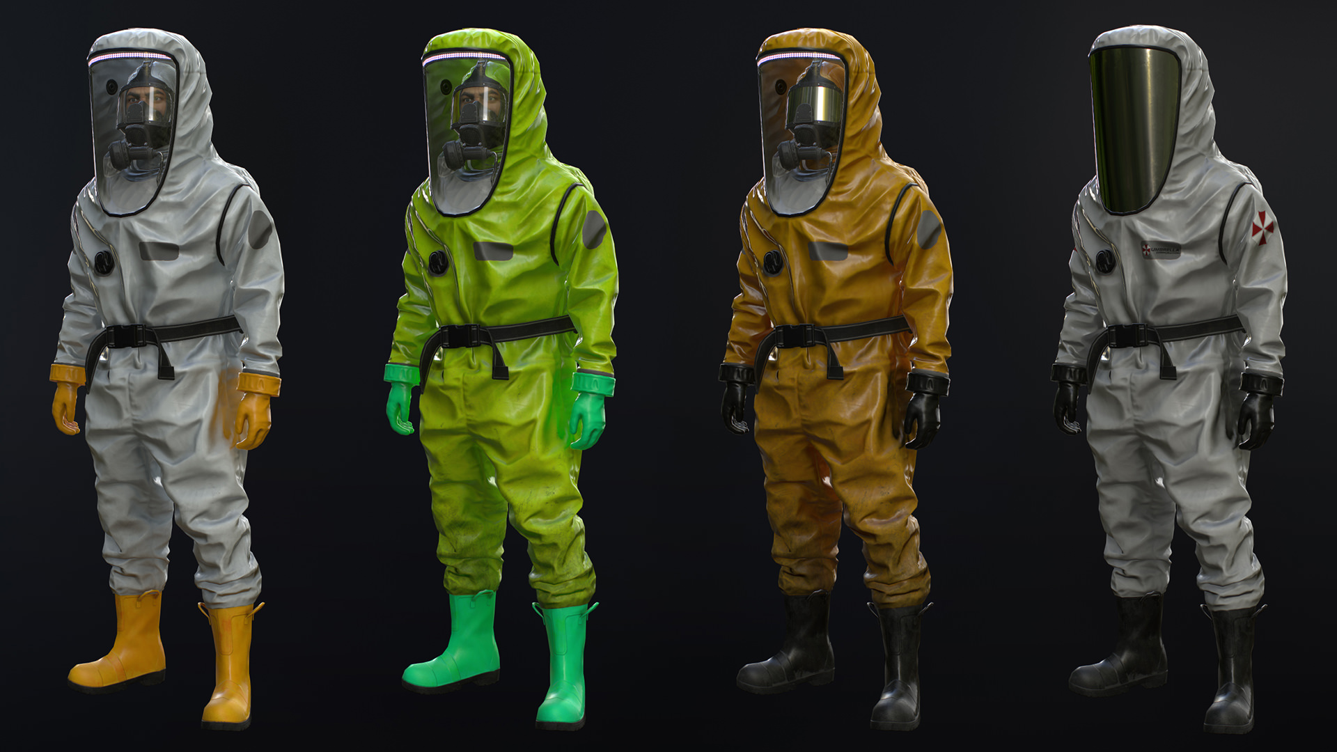 Level A Hazmat suits with gastight zippers